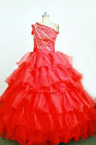 Exquisite Red One Shoulder Ruffles Layered Pageant Dresses For Girls