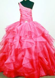 Cute Beaded One Shoulder Ruffled Watermelon Pageant Dresses For Kids