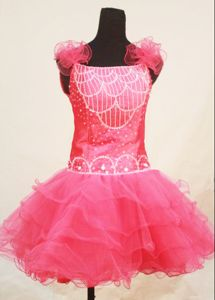 Dressy Sweet Hot Pink Backless Zipper-up Child Pageant Dresses in Norway