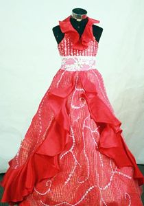 Halter Top Princess Red Organza Lil Girl Pageant Dresses with Appliques