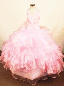 Dressy Halter Top Pink Baby Girl Pageant Dresses with Beading and Ruffles