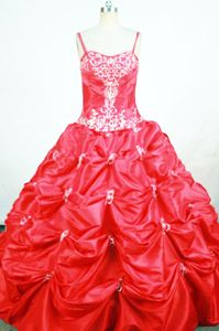 Spaghetti Red Lace-up Toddler Pageant Dresses with Appliques in Dublin