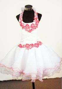 White Halter Top Organza Pageant Dresses for Kids with Appliques in Lincoln