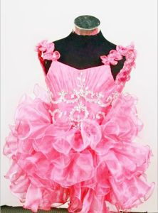 Hot Pink Princess Organza Beaded Little Girls Pageant Dresses in Chicago