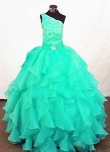 Turquoise Organza Beaded Cheap Pageant Dresses for Juniors in Honolulu