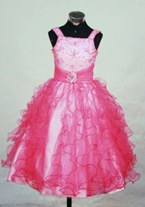 Popular Red Beaded Organza Lil Girl Pageant Dresses with Straps in Honolulu