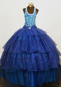 Royal Blue Square Floor-length Baby Girl Pageant Dresses in New Orleans