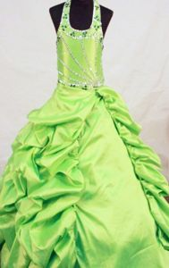 Yellow Green Beaded Lace-up Long Pageant Dresses for Kids in Moscow
