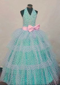 Sweet Halter Top Beaded Organza Little Girl Birthday Dresses with Bowknot