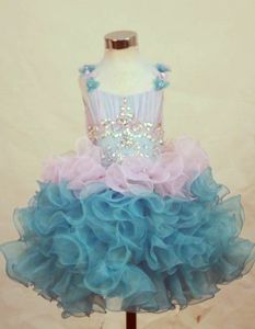 Beaded Princess Organza Flower Girl Pageant Dress in Multi-color with Straps