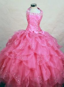 Wonderful Halter Top Hot Pink Organza Beaded Lil Girl Pageant Dresses