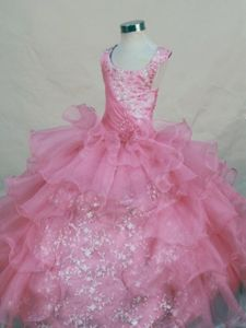 Hot Pink Scoop Organza San Francisco Pageant Dresses for Teens with Appliques