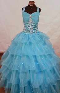 Aqua Blue Floor-length Organza Bead Beauty Pageants Dresses with Straps