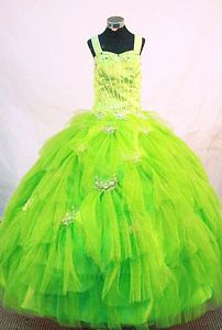 Lace-up Tulle Long Little Girls Beauty Pageant Dresses in Spring Green