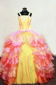 Modern Organza Long Pageant Dresses for Kids with Ruffles in Multi-color