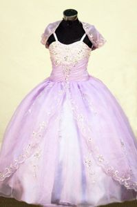 Dressy Lavender Spaghetti Lace-up Organza Pageant Dresses for Little Girls