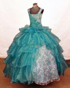 Dressy Turquoise Long Little Girls Pageant Dresses with Beading in Honolulu