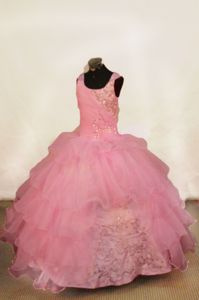 Popular Pink Scoop Lace-up Organza Little Girl Birthday Dresses in Alameda