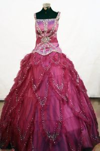 Fuchsia Lace-up Tulle Cheap Pageant Dresses for Juniors with Straps in Norway