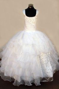Beaded Lace-up Organza Flower Girl Pageant Dress with Square Neckline