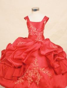 Gorgeous Square Lace-up Long Taffeta Beauty Pageants Dresses in Red