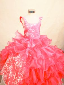 Perfect Hot Pink Organza Little Girls Beauty Pageant Dresses with Appliques