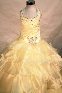 Yellow Halter-top Beaded Organza Baby Girl Pageant Dresses in Chicago