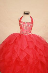 Halter-top Red Long Germany Pageant Dresses for Toddlers with Beading