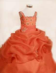 Orange Red Taffeta Lace-up Pageant Dresses for Kids with Straps in Germany