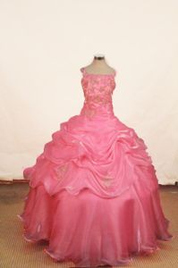 Pink Lace-up Beaded Long Pageant Dresses for Little Girls with Appliques
