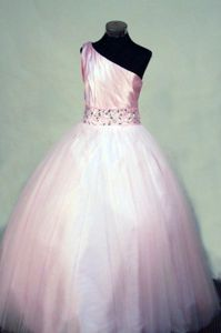 Pink One shoulder Long Tulle Girl Pageant Dresses with Beading in Norway