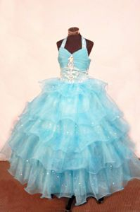 Lace-up Halter Top Organza Floor-length Little Girls Pageant Dresses in Blue