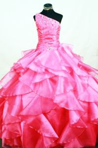 Romantic Hot Pink Lace-up Long Organza Miss Universe Pageant Dress