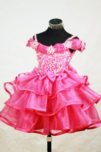 Lovely Off-the-shoulder Beaded Pageant Dresses for Miss World in Hot Pink