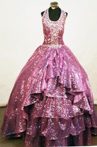Sweet Purple Halter Top A-line Pageant Dresses for Miss America with Sequins