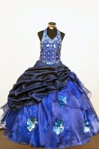 Blue and Black Halter Top Lace up Long Pageant Dresses for Miss USA