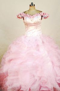 New Off the shoulder Baby Pink Beaded Organza Pageant Dresses for Girls