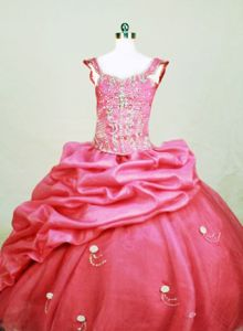 Sweet Square Lace-up Organza Norway Beauty Pageant Dresses in Hot Pink