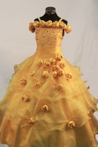 Romantic Gold Long Organza Dresses for Pageants with Hand Made Flowers