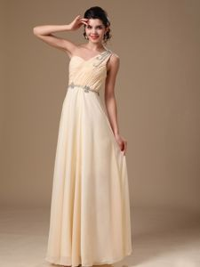 Empire Glitz Pageant Dress with Beaded One Shoulder in Champagne