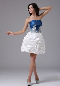 Blue and White Appliques and Pick-ups for Pageant Dress In Alameda