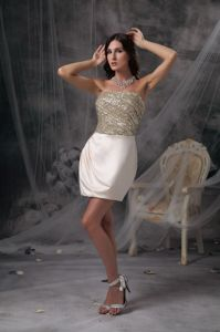 Burlingame Champagne Mini Pageant Dress with Beading and Ruche