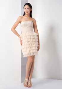 Champagne Strapless Short-Length Layered Ruffled Pageant Dress in Cape Breton