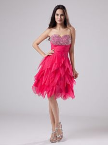 Fuchsia Beaded Sweetheart Short-Length Layered Pageant Dress in Strathcona County