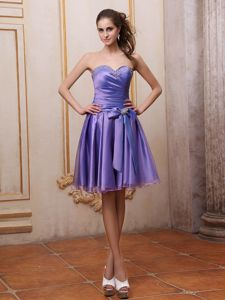 Purple Sweetheart Knee-Length Pageant Dress with Bow and Beading in Windsor