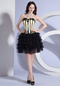 Nude Black Sweetheart Mini-Length Layered Pageant Dress with Appliques in Regina