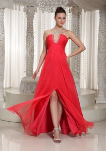 Coral Red Floor-Length Strapless Beaded Ruched Pageant Dress with Slot Neckline
