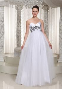White Sweetheart Princess Floor-Length Pageant Dress for Prom with Appliques