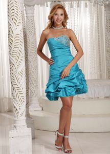 Teal Mini-Length Strapless Beaded Pageant Dress for Girls with Pick-ups in Sarnia