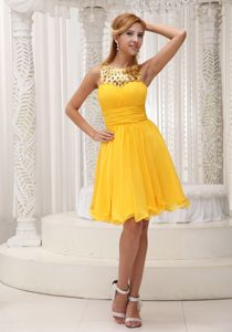 Yellow Jeweled Neckline Knee-Length Pageant Dress for Miss World in Waterloo